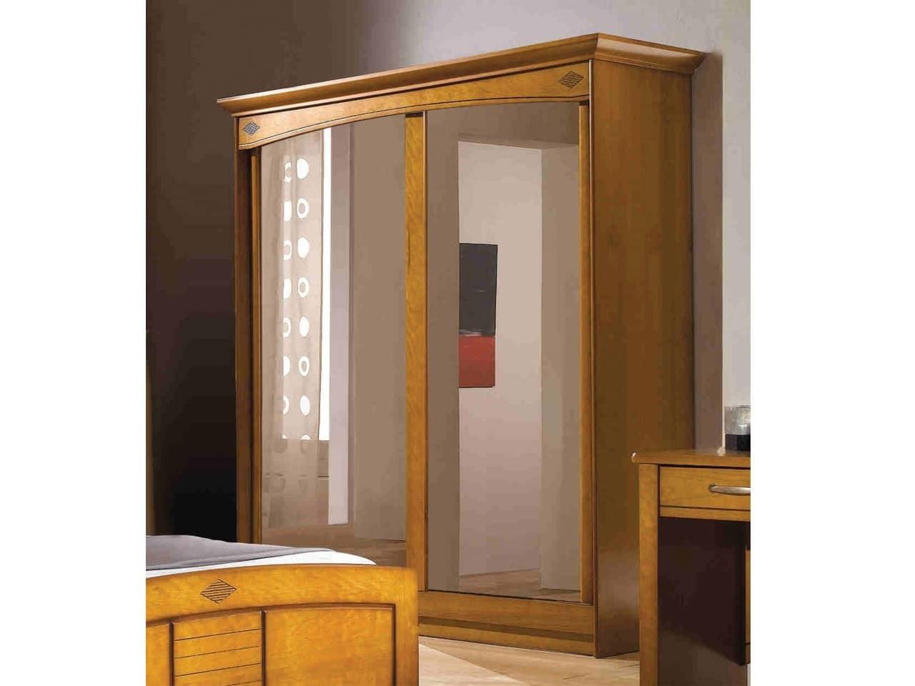 c1d915d18feb6 Armoire 2 portes miroir Louisiane Merisier - Meubles Minet