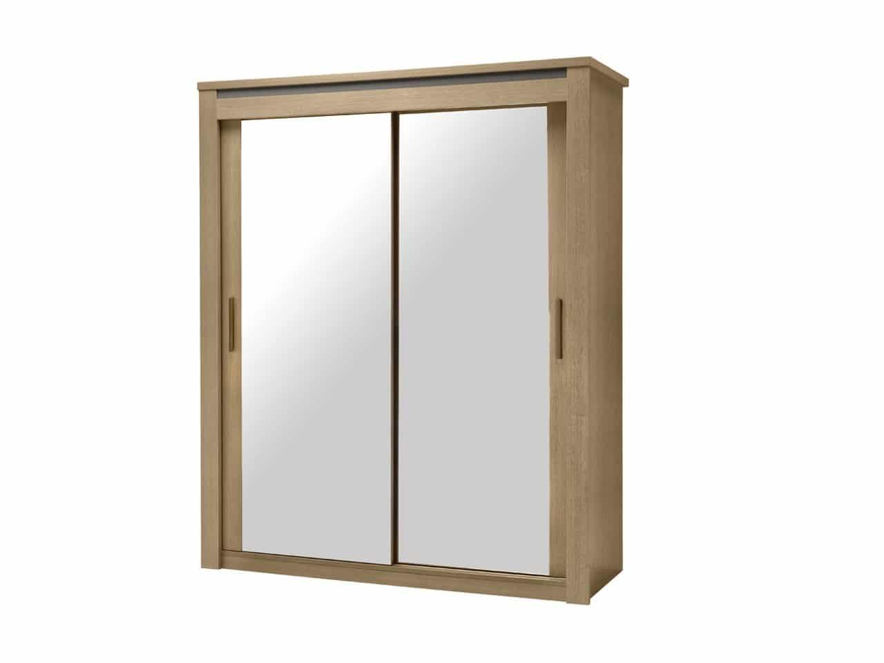 Armoire 2 Portes Coulissantes Miroirs 180 Luna Chêne U0026 Laque