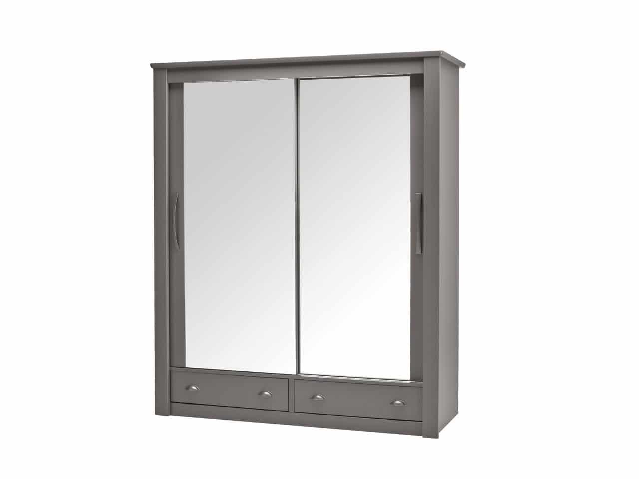 Armoire 2 Portes Coulissantes Miroir Avec Tiroirs Dolce