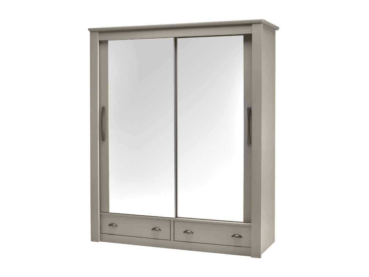 Armoire 2 Portes Coulissantes Miroir Avec Tiroirs Dolce Laque Argile Meubles Minet