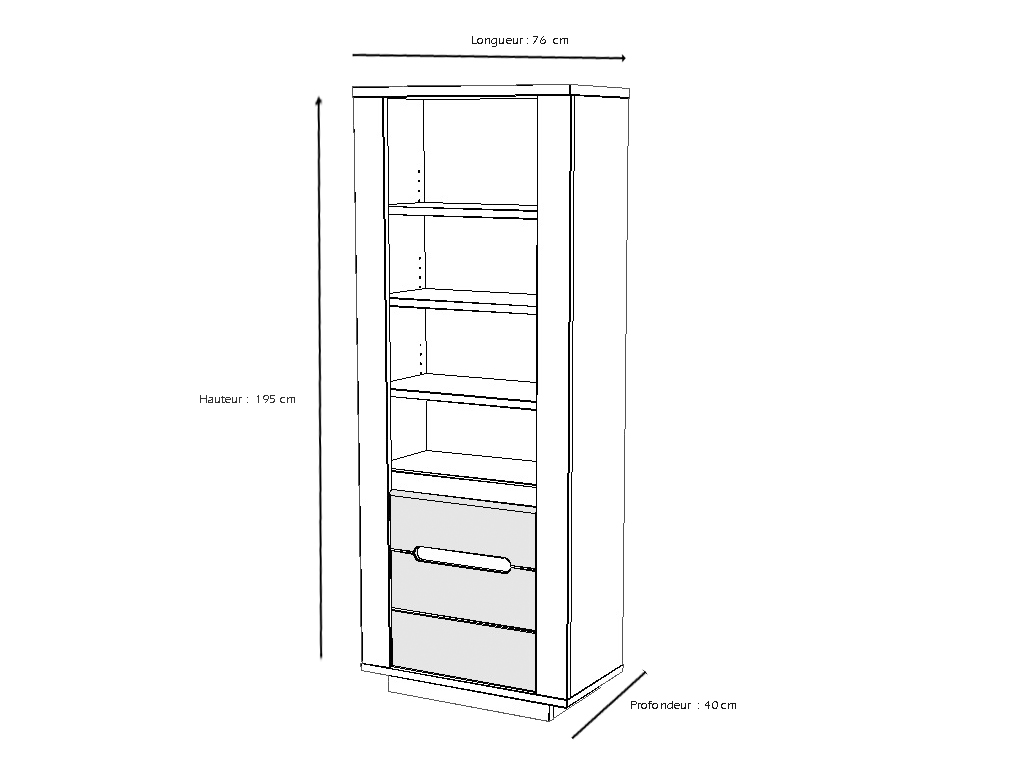 colonne himalaya l76 etagere bois blanc carbone meubles. Black Bedroom Furniture Sets. Home Design Ideas