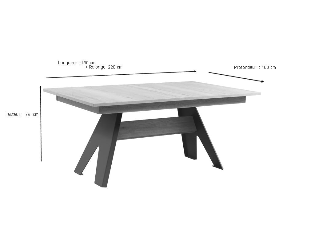 Table Himalaya 160 Pieds Metal Plein Chene Blanc Meubles Minet