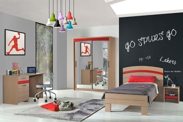 Luna chambre ado rouge carmin