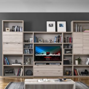 Bibliothèque modulable meuble TV Manhattan, meuble Tv