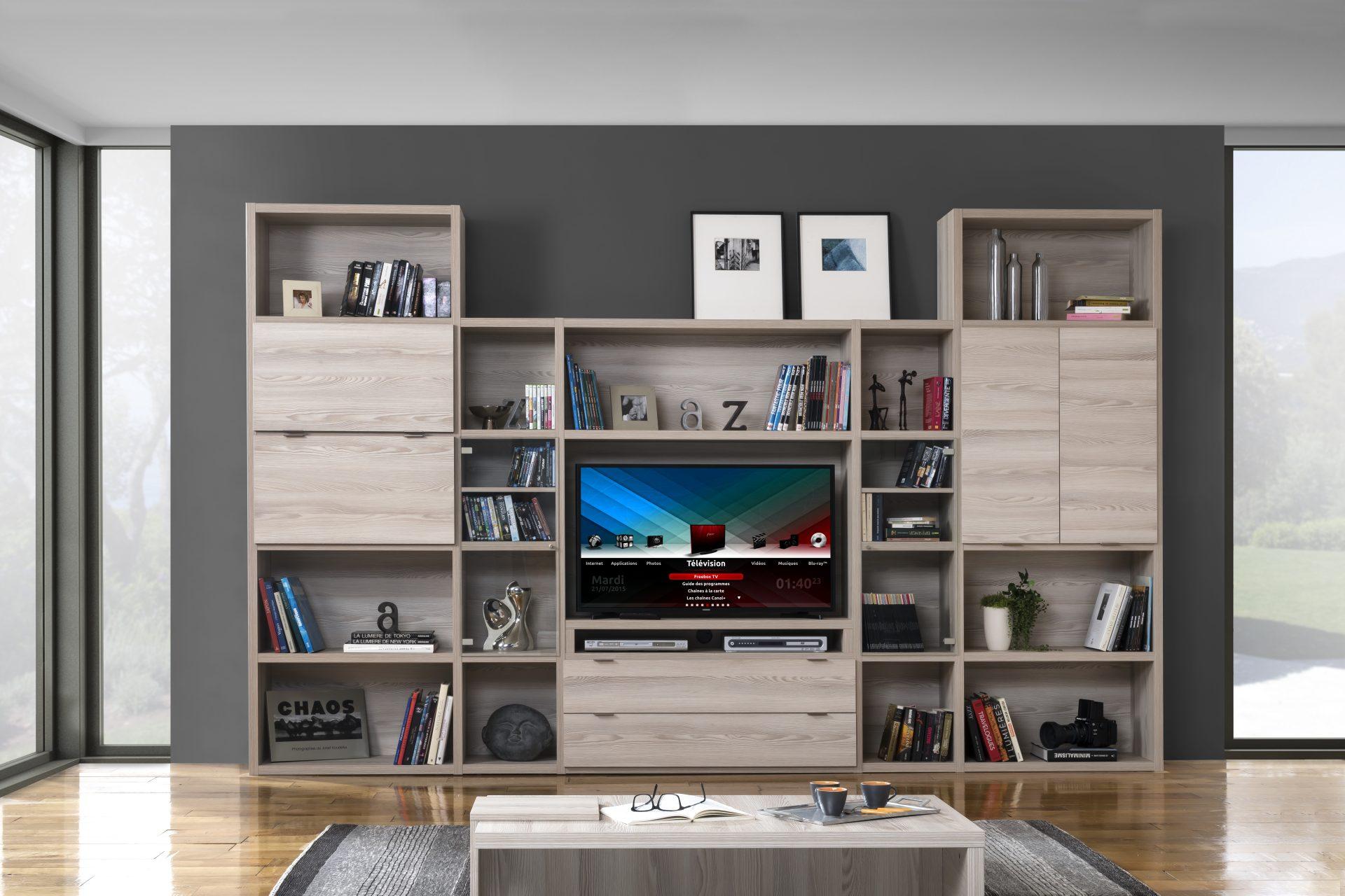 Biblioth que modulable meuble tv manhattan meubles minet - Meuble tv et bibliotheque ...