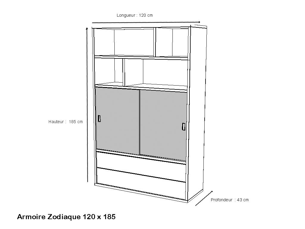 armoire largeur 120 zodiaque les meubles minet. Black Bedroom Furniture Sets. Home Design Ideas