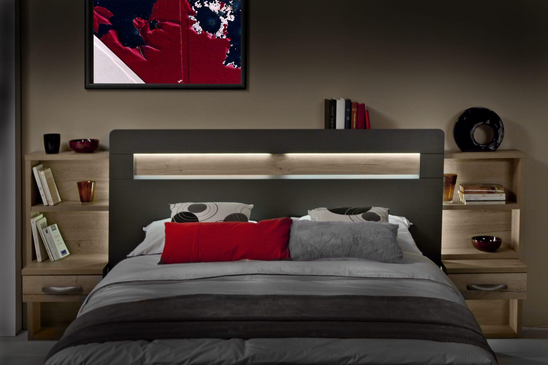 T te de lit calypso crosse m lamin structur ch ne blanc - Tete de lit blanc laque ...