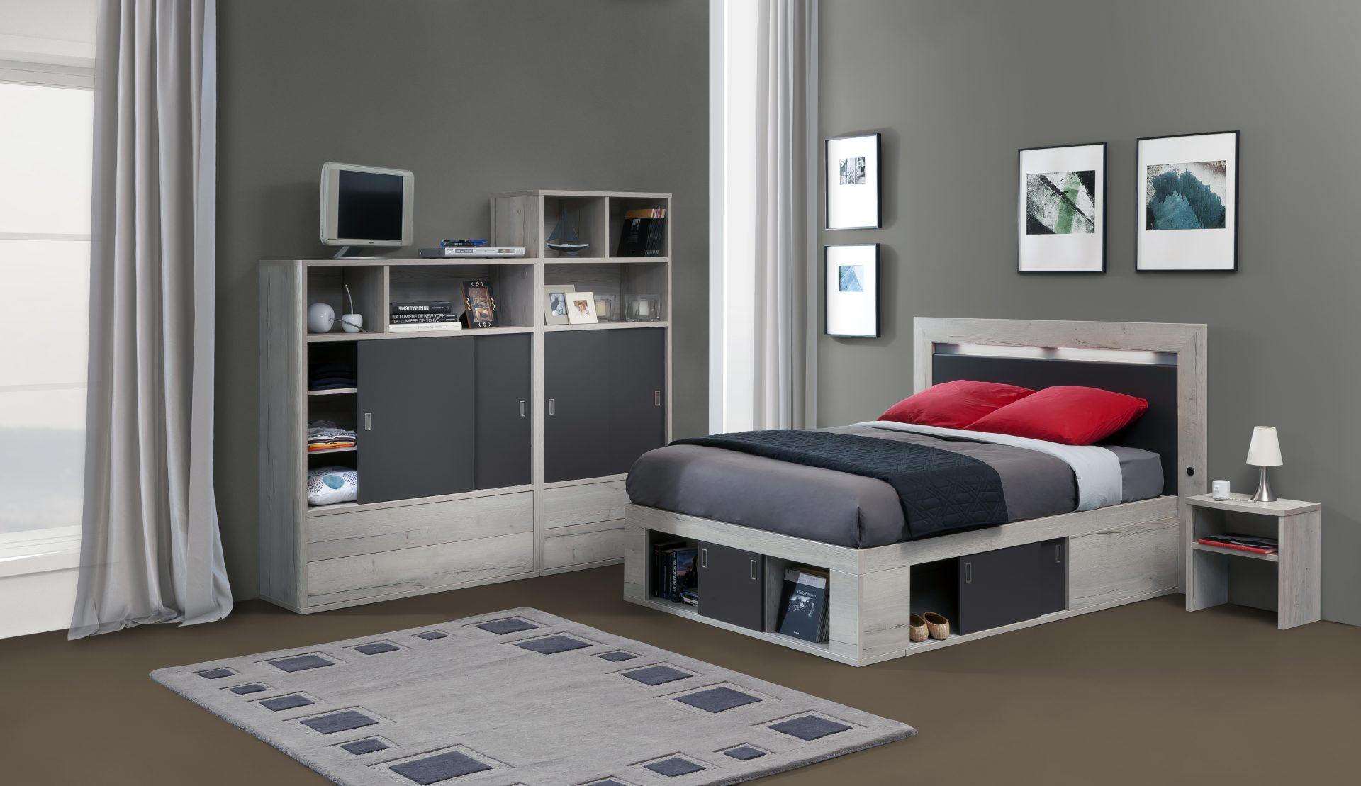 coffre de lit zodiaque ch ne blanc laque perle 140x190 meubles minet. Black Bedroom Furniture Sets. Home Design Ideas
