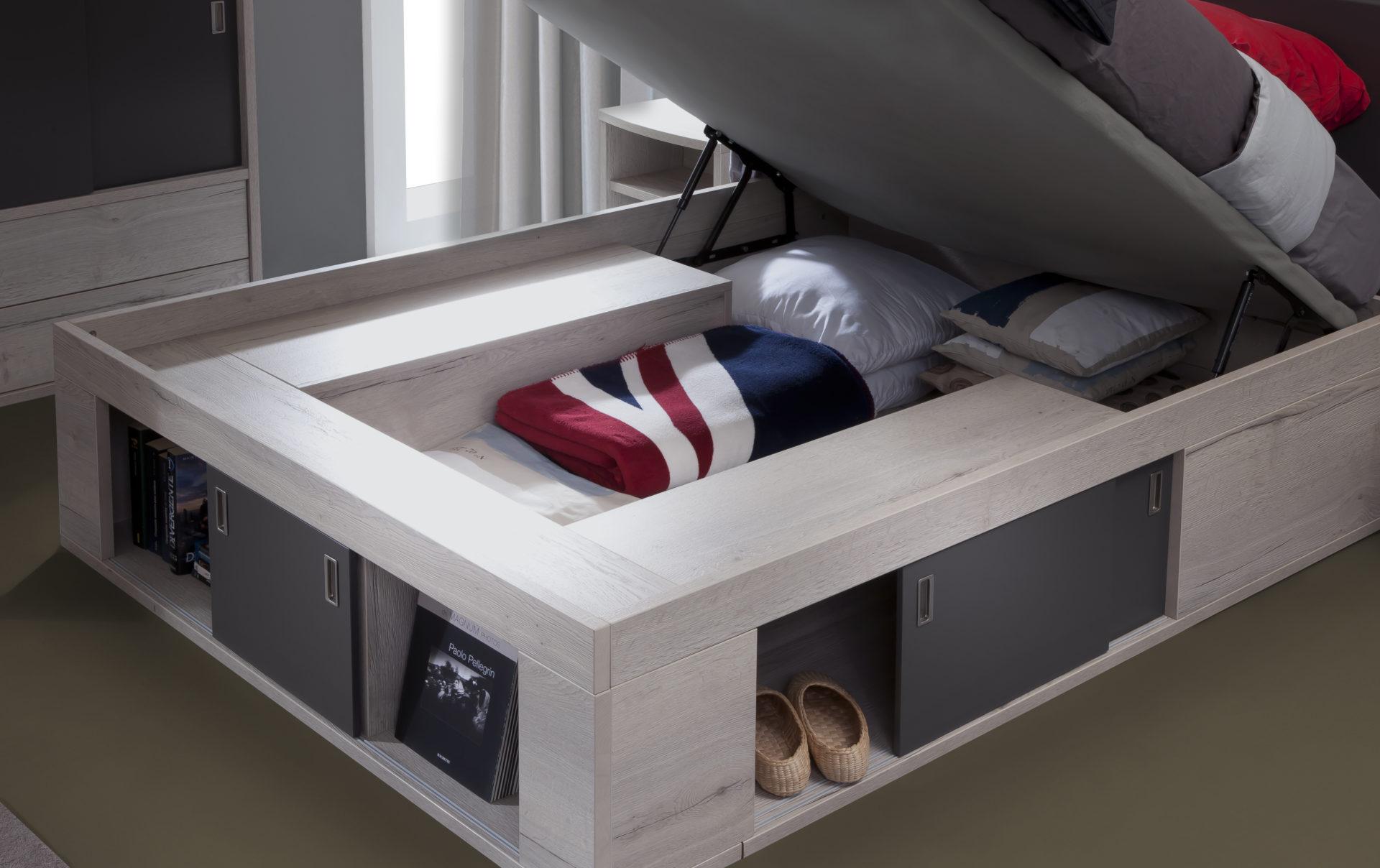 coffre de lit zodiaque avec sommier relevable ch ne tabac laque perle 140x190 meubles minet. Black Bedroom Furniture Sets. Home Design Ideas