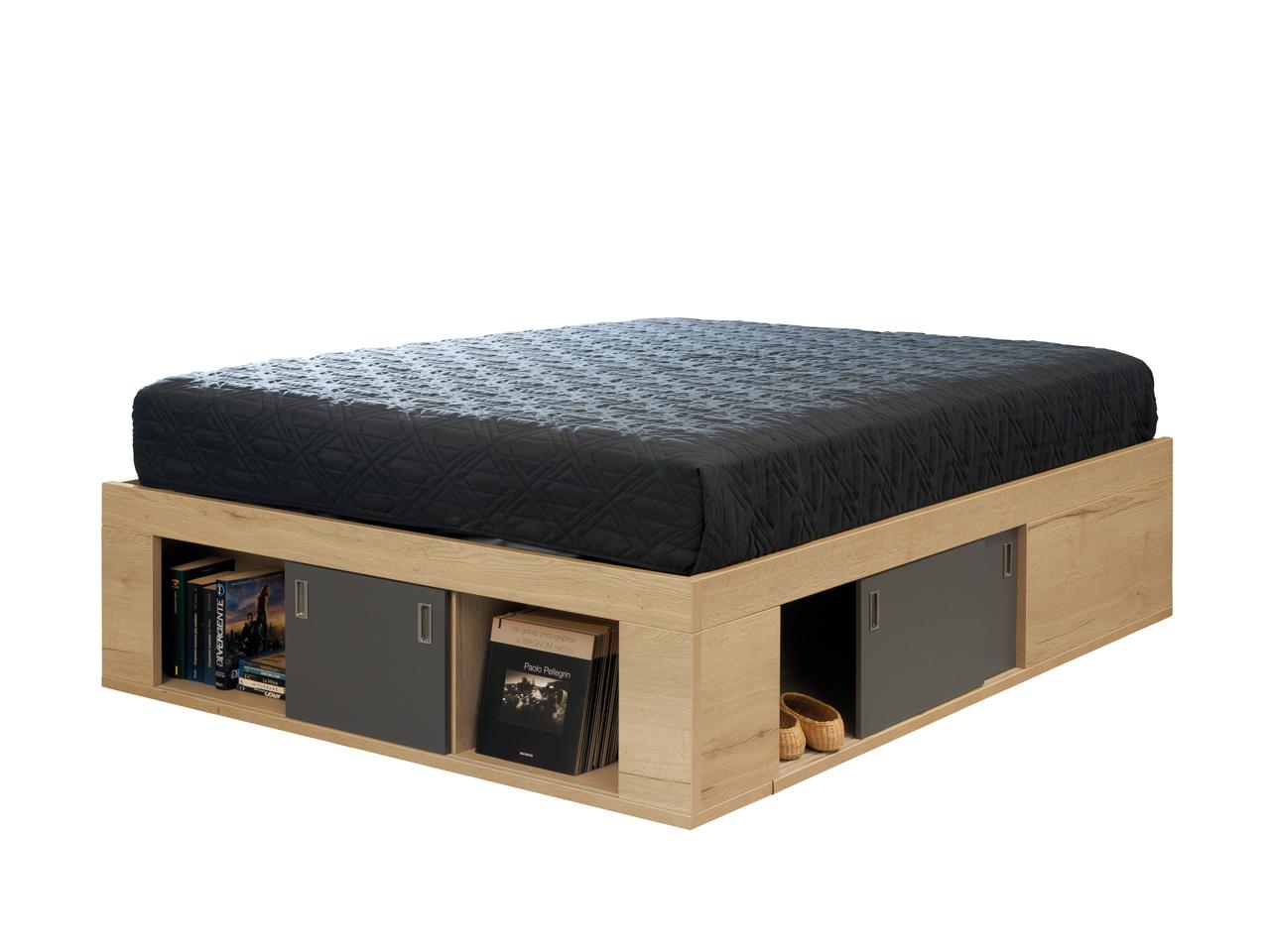 coffre de lit zodiaque ch ne naturel laque carbone 160x200. Black Bedroom Furniture Sets. Home Design Ideas