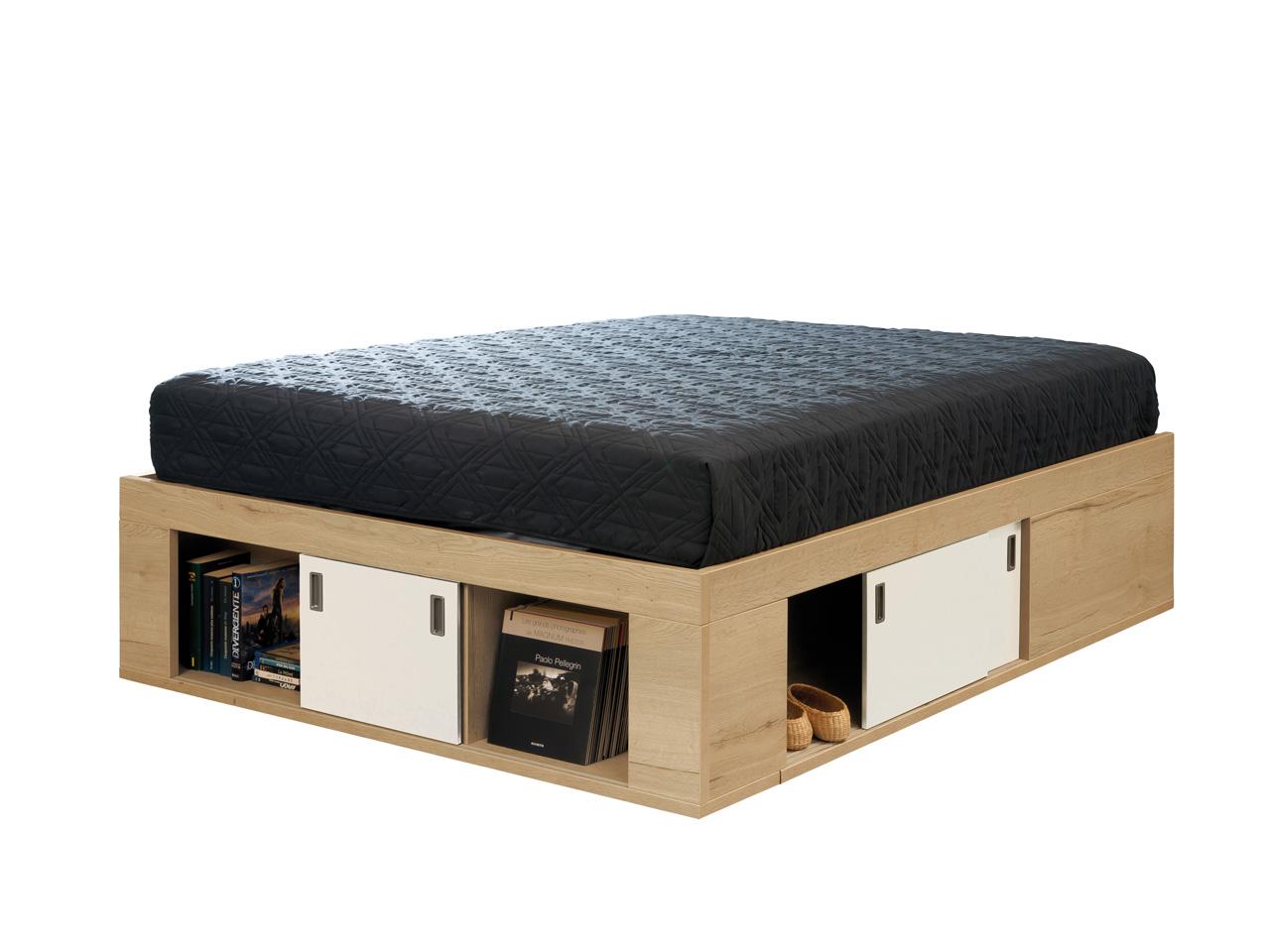 coffre de lit zodiaque ch ne naturel laque perle 160x200. Black Bedroom Furniture Sets. Home Design Ideas