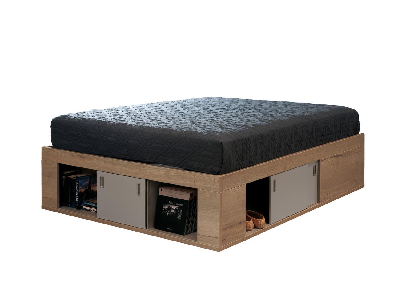 coffre de lit zodiaque ch ne tabac laque argile 160x200 meubles minet. Black Bedroom Furniture Sets. Home Design Ideas