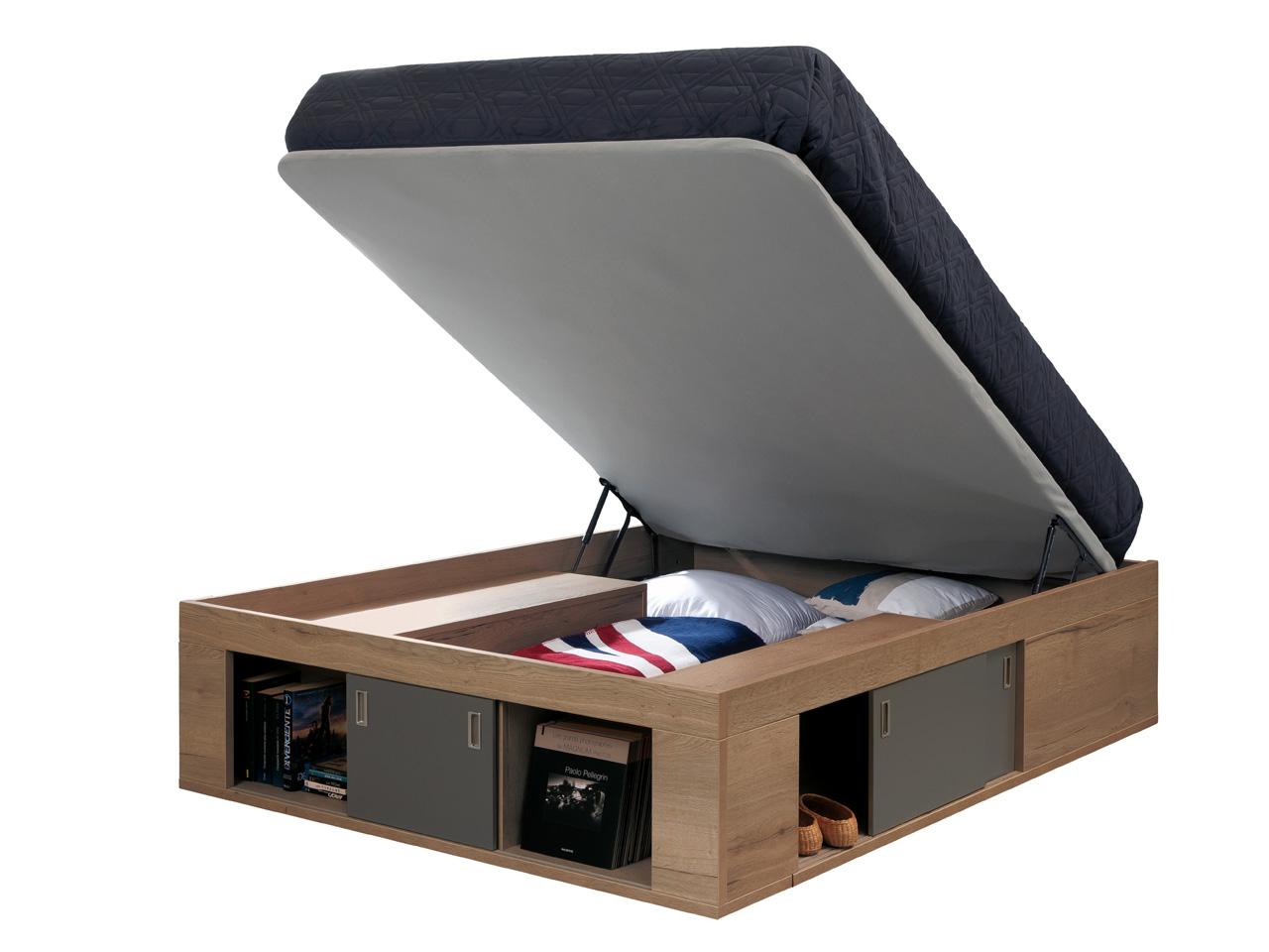 coffre de lit zodiaque avec sommier relevable ch ne tabac. Black Bedroom Furniture Sets. Home Design Ideas