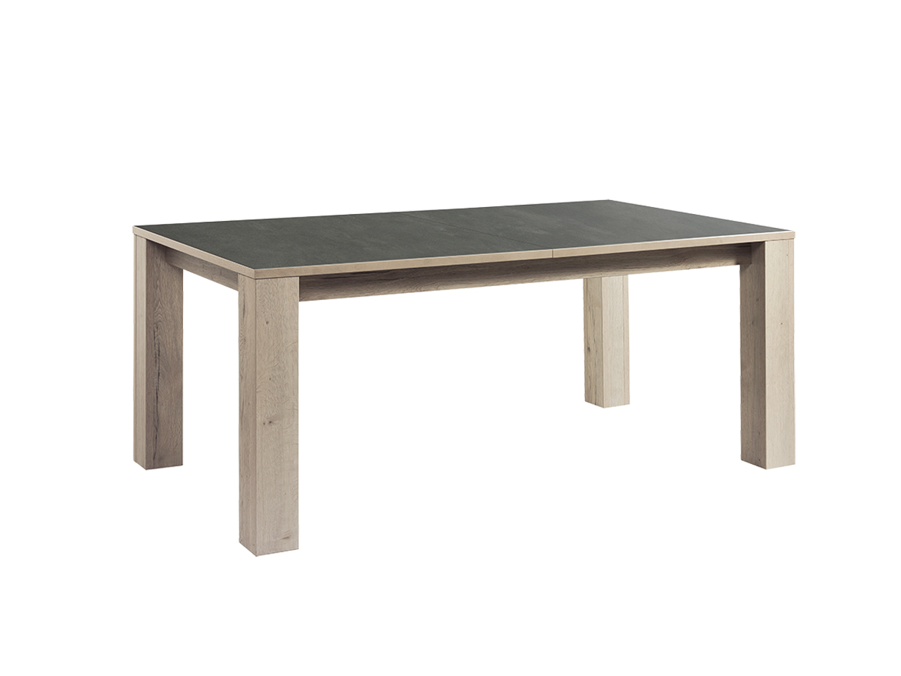 table himalaya 180 pieds bois ch ne blanc finition c ramique gris meubles minet. Black Bedroom Furniture Sets. Home Design Ideas