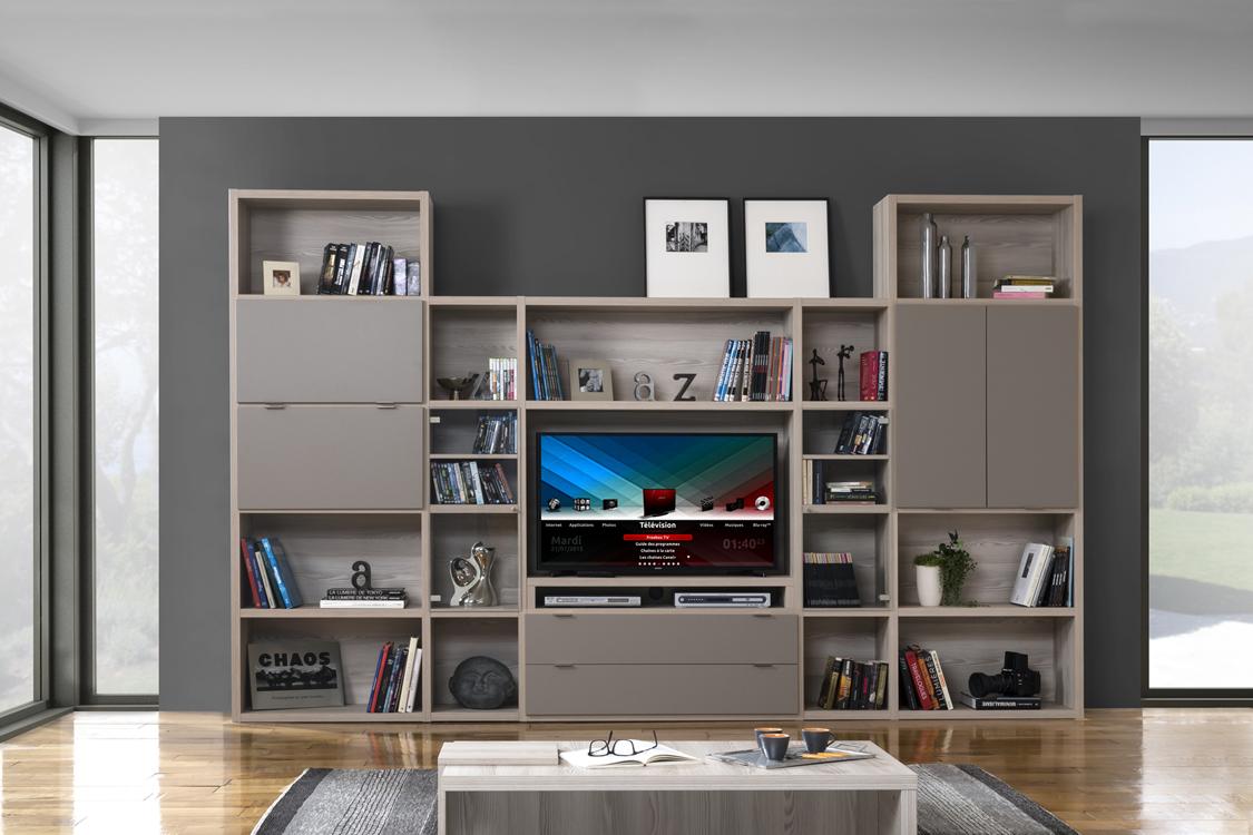 Meuble Tv Avec Bibliothèque meubles manhattan - configurateur 3d | meubles minet